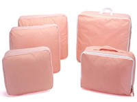 House of Quirk Set of 5 Home & Travel Storage Bag Packing Cubes Most Helpful Packing Organizers - Pink(Pink)