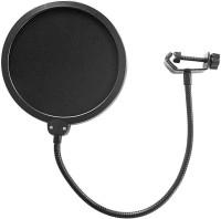 SYGA Dual Layer Nylon Studio Microphone Pop Filter/Blocker with Adjustable Gooseneck and Clamp Microphone Pop Filter(Black)