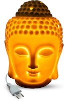CANDYLOGIC™ White Ceramic Electric Buddha Fragrance / Aroma Diffuser Lamp with Dimmer Switch to Control Fragrance & Light Intensity for Home, Office, Spa, Salon etc. Table Lamp(15 cm, White)