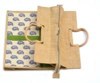 art godaam Jute Shopping Waterproof Multipurpose Bag(Green, 20 inch)