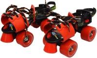 Jaspo Adjustable Senior Roller Skates Suitable for Age Group 6 to 14 Years (red) Quad Roller Skates - Size 6 UK(Red, Blue)