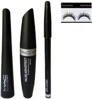 Sscosmetic Eyebrow Pencil Black & Mac Liquid EyeLiner & Mac Mascara (MAC 3in1) (Set of 4)(Set of 4)