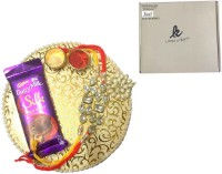 Loops n knots Set of 2 Rakhi & Platter With Cadbury Dairy Milk Silk (Pl16043) Wooden Gift Box(Red, Yellow)