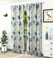 LaVichitra 213.5 cm (7 ft) Polyester Door Curtain (Pack Of 2)(Floral, Grey)