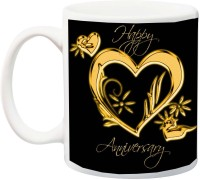 ME&YOU Gift for Husband/Wife/Couple;Happy Anniversary Golden Heart Printed Ceramic Mug(325 ml)