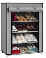 CMerchants Cabinet-4Layer Metal Collapsible Shoe Stand(Grey, 4 Shelves)