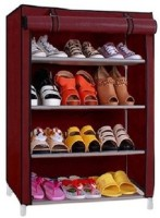 CMerchants Cabinet-4Layer Metal Collapsible Shoe Stand(Maroon, 4 Shelves)