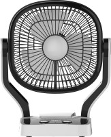 Impex Solar Rechargeable Fan (BREEZE D1) with LED Light Dual Speed Mode 3 Blade Table Fan(Black)