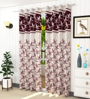 LaVichitra 213.5 cm (7 ft) Jacquard Door Curtain (Pack Of 2)(Floral, Multicolor)