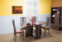 @home by Nilkamal GYPSY Engineered Wood 4 Seater Dining Set(Finish Color - Walnut)