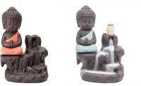 Shopozo Handcrafted Set of 2 Meditating Little Baby Monk Buddha Smoke Backflow Cone Incense Holder With 30 Incense Cones Decorative Showpiece Decorative Showpiece  -  13 cm(Polyresin, Orange, Light Blue)