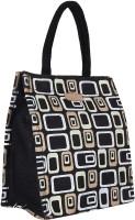 ECOTARA Golden Designer Classic Printed Multipurpose Premium Quality Eco Friendly Everyday Useful Travel Bag, Office Bag, Lunch Bag, Hand Bag, Gift Bag With Closing Zipper Natural Jute Bag For Mens & Womens (11.5