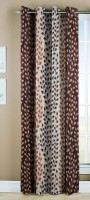 Optimistic Home Furnishing 210 cm (7 ft) Polyester Door Curtain Single Curtain(Printed, Brown)