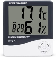 Nika HTC-1 Hygrometer Electronic Thermo Hygro with Touch Screen & Backlight Humidity Meter Tester + Temperature Meter + Alarm Clock + Time Temperature Humidity Time Alarm Clock Pinless Digital Moisture Measurer(1 mm)