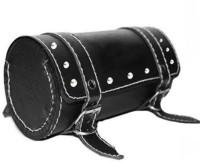 SCORIA Waterproof Round Black Saddle Bag for , Bike One-side Black Genuine Leather Motorbike Saddlebag(2.5 L)