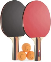 QUINERGYS ® Table Tennis Ping Pong Racket Set Two Pimples-in Rubber Bats Three Balls Long Handle Pure Wood Multicolor Table Tennis Racquet(Pack of: 5, 180 g)