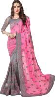 Darshita International Embroidered, Embellished Bollywood Chiffon, Net, Crepe Saree(Multicolor)