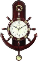A&A Plaza Pendulum Wall Clock Analog 36 cm X 32 cm Wall Clock(Maroon, With Glass)
