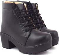 Beonza High Ankle Boots For Women(Black)