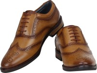 Vincenzo Classic Brogue Shoes Party Wear For Men(Tan)