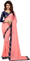Shoppershopee Solid Fashion Chiffon Saree(Pink)