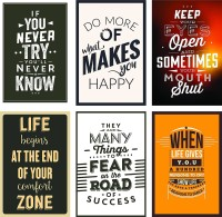 Combo Pack of 6 Motivational Wall Posters and Inspirational Quotes for Office and Home Photographic Paper(12 inch X 18 inch)