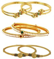 You Bella Alloy Gold-plated Bangle Set(Pack of 6)