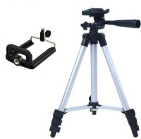 99 Gems Adjustable 3 Way PAN Head Aluminum Extendable Camera & Smartphones -Tripod With Bag Tripod Kit(Black, Silver, Supports Up to 2000 g)