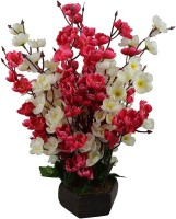 kaykon Artificial Flower Pot Orchid Blossom Pot Home Decor Flowers - 17 inch/42 CM - 12 Full length sticks - Superb Quality Red, White Orchids Artificial Flower  with Pot(17 inch, Pack of 1)