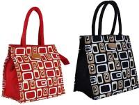 ECOTARA Golden Glaze Designer Super Saver Classic Printed Multipurpose Premium Quality Eco Friendly Everyday Useful Travel Bag, Office Bag, Lunch Bag, Hand Bag, Gift Bag With Closing Zipper Natural Jute Bag For Mens & Womens (10