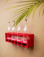 Onlineshoppee Wood Bottle Rack(Red, 4 Bottles)
