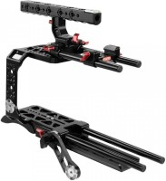 CAMTREE Blackmagic Ursa Mini CNC Camera Cage Tripod mounting Dovetail Plate, Comfortable Shoulder pad with Rail Rods, ROSETTE ARM for Smooth Video Shooting CH-BMUM-C Camera Rig