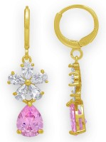 Spargz Floral Pink Pear Gold Plated Synthetic Stone Party Wear Hoop Diamond Brass Drops & Danglers