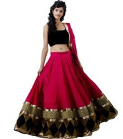Nebula Trendz Embroidered Semi Stitched Lehenga, Choli and Dupatta Set(Pink, Black)