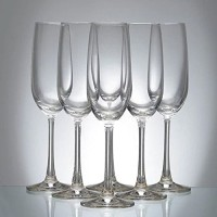 saaikee (Pack of 6) GLAS052-Flute Champagne Glass - 6 Pieces, Clear, 210 ml Glass Set(210 ml, Glass)