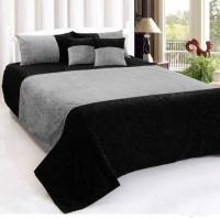 igi 180 TC Velvet Double Motifs Bedsheet(Pack of 1, Black)