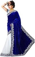 SNH Export Embroidered, Embellished Bollywood Velvet Saree(Dark Blue)