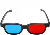 Punnkk Red Blue Cyan Plastic 3D Reusable Sporty General Glasses for TV Movie DVD Video Glasses(Black)