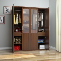 Flipkart Perfect Homes Nevada Engineered Wood 4 Door Wardrobe(Finish Color - Walnut, Mirror Included)