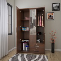 Flipkart Perfect Homes Nevada Engineered Wood 3 Door Wardrobe(Finish Color - Walnut, Mirror Included)