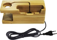 SHOPIZONE Natural Bamboo Wooden Stand Charging Dock [3 USB] Mobile Holder for All iPhone and iWatch (38mm and 42mm) Dock(Wood Brown)