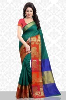 Divastri Printed Banarasi Poly Silk Saree(Dark Green)