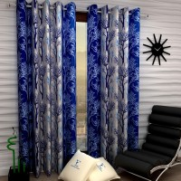 Fashion String 152 cm (5 ft) Polyester Window Curtain (Pack Of 2)(Floral, Blue)