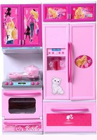 PRESENTSALE 2 fold Doll House Kitchen set for kids with light music(Pink)