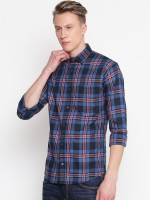 Delvinbroad Men Checkered Casual Blue Shirt