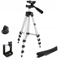 TECH-X 3110 Foldable Camera Tripod With Mobile Clip Holder Bracket, Fully Flexible Mount Cum Tripod, Standwith 3D Head & Quick Release Plate (Black) Tripod(Silver, Supports Up to 1500)