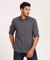 CAVALLO by Linen Club Men's Checkered Casual Grey Shirt