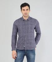 Wrangler 20X Men's Checkered Casual Dark Blue Shirt