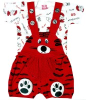 SAS Dungaree For Boys & Girls Casual Applique Cotton Blend(Red, Pack of 1)