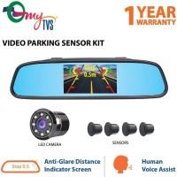 myTVS Video Reverse Parking Sensor,Digital Rear View Mirror and Camera with Nearest Object Distance Voice Alert(1 Yr Warranty) Black LED(10.9 cm)
